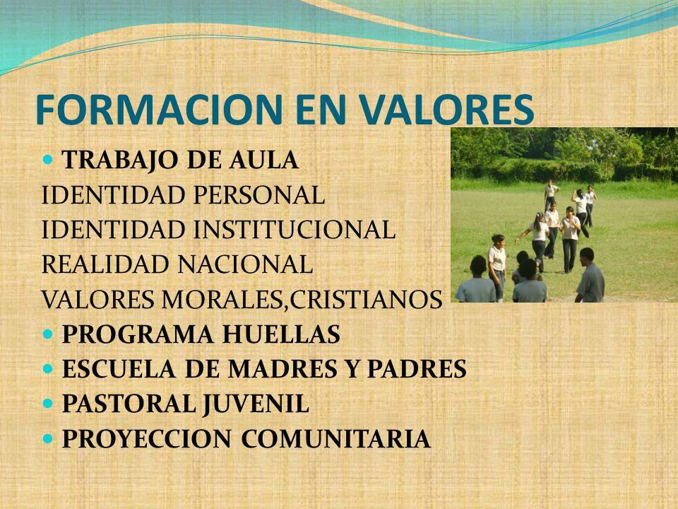 FORMACION EN VALORES TRABAJO DE AULA IDENTIDAD PERSONAL IDENTIDAD INSTITUCIONAL REALIDAD NACIONAL VALORES MORALES,CRISTIANOS PROGRAMA HUELLAS ESCUELA