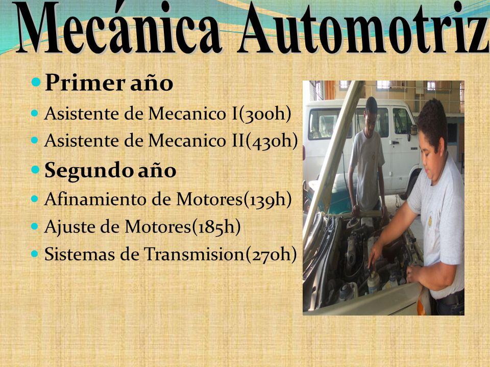 Primer año Asistente de Mecanico I(300h) Asistente de Mecanico II(430h) Segundo año Afinamiento de Motores(139h) Ajuste de Motores(185h) Sistemas de T