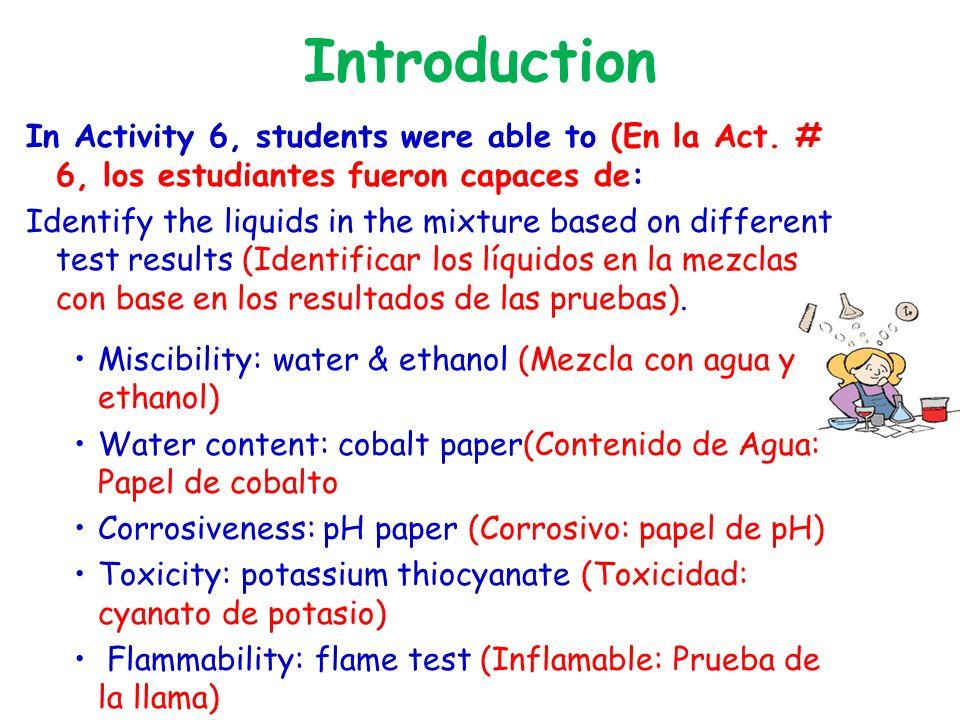 Properties of Separated Liquids (Propiedades de los Líquidos Separados) Test (Prueba)Liquid A (Líquido A)Liquid B (Líquido B Appearance (Apariencia)Transparent, colorless (transparente, sin color) Dark orange (Naranja oscuro) Miscible in water (Se mezcla en agua) noyes Miscible in ethanol ( se mezcla en ethanol) noyes Contains water (Contiene agua) noyes Corrosive (Corrosivo)noyes Toxic (Tóxico)noYes Flammable (Inflamable)yesno Identity (Identidad) mineral oil (aceite mineral) iron nitrate solution solución de nitrato de hierro)