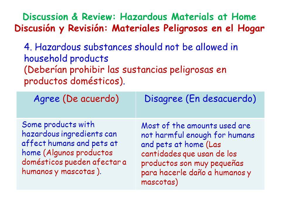4. Hazardous substances should not be allowed in household products (Deberían prohibir las sustancias peligrosas en productos domésticos). Agree (De a