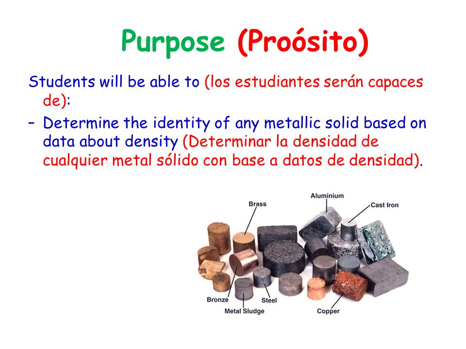 Activity # 10: Density of Unknown Solids (Actividad #10: Densidad de los Sólidos Desconocidos) 1.Set up Activity 10, p.