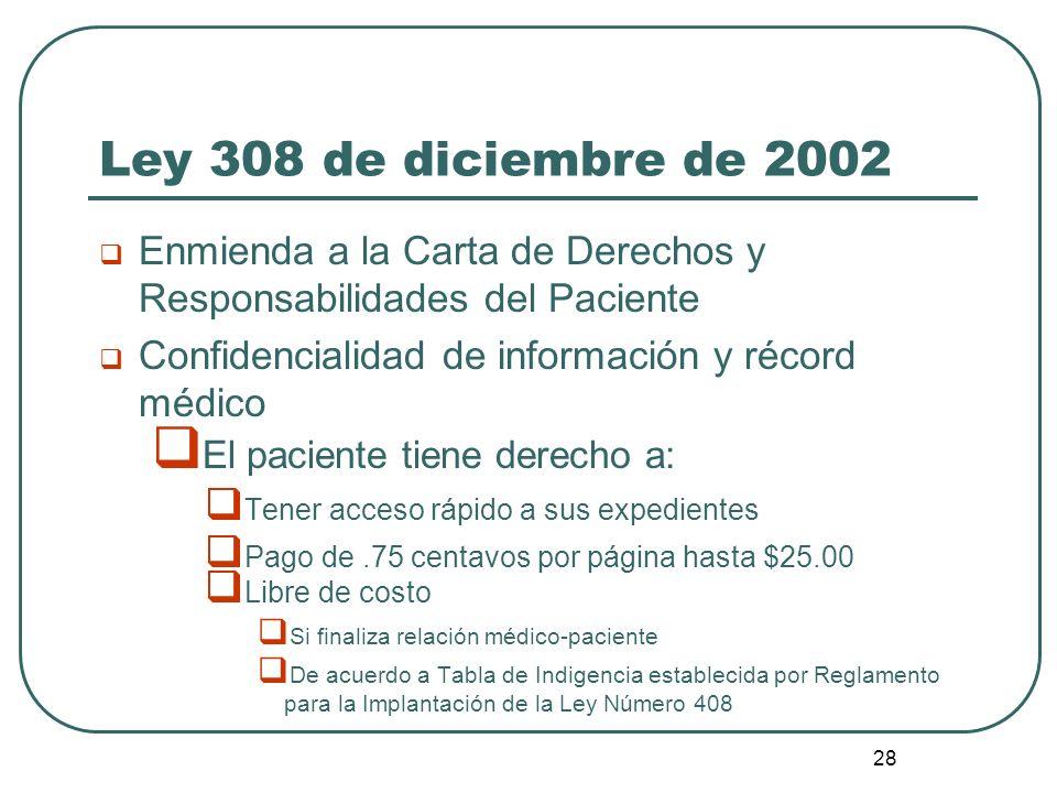 28 Ley 308 de diciembre de 2002 Enmienda a la Carta de Derechos y Responsabilidades del Paciente Confidencialidad de información y récord médico El pa