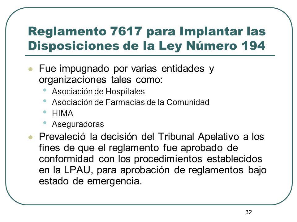32 Reglamento 7617 para Implantar las Disposiciones de la Ley Número 194 Fue impugnado por varias entidades y organizaciones tales como: Asociación de