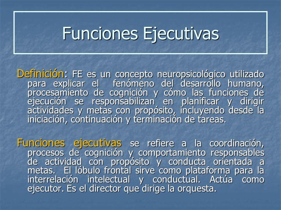 Definición: FE es un concepto neuropsicológico utilizado para explicar el fenómeno del desarrollo humano, procesamiento de cognición y cómo las funcio