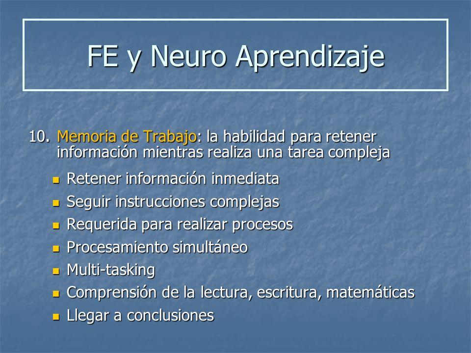 10. Memoria de Trabajo: la habilidad para retener información mientras realiza una tarea compleja Retener información inmediata Retener información in