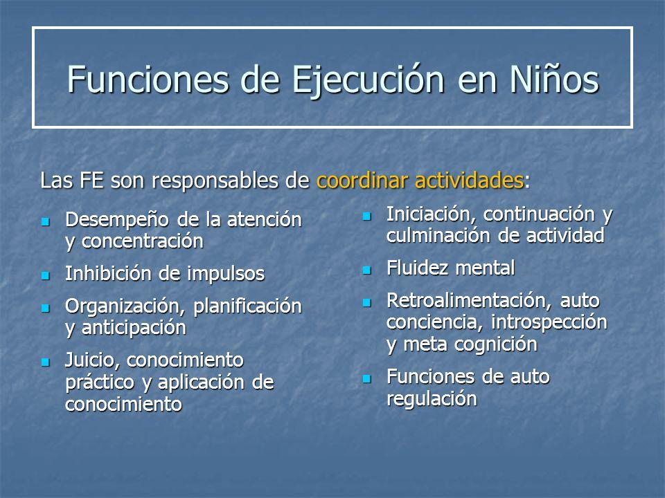 Desempeño de la atención y concentración Desempeño de la atención y concentración Inhibición de impulsos Inhibición de impulsos Organización, planific