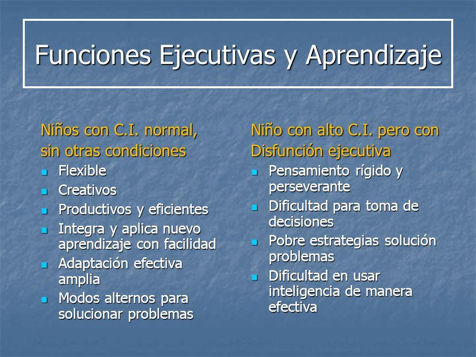 Funciones Ejecutivas y Aprendizaje Niños con C.I. normal, sin otras condiciones Flexible Flexible Creativos Creativos Productivos y eficientes Product