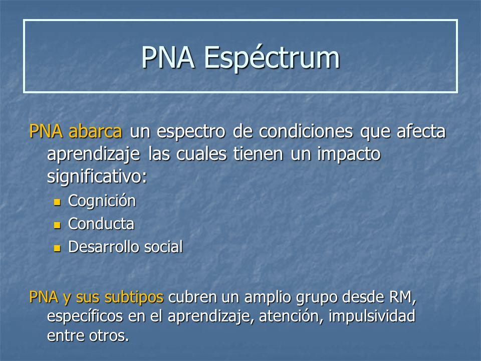 PNA abarca un espectro de condiciones que afecta aprendizaje las cuales tienen un impacto significativo: Cognición Cognición Conducta Conducta Desarro