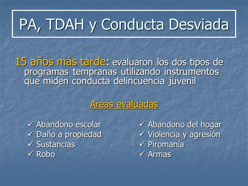 PA, TDAH y Conducta Desviada 15 años más tarde: evaluaron los dos tipos de programas tempranas utilizando instrumentos que miden conducta delincuencia