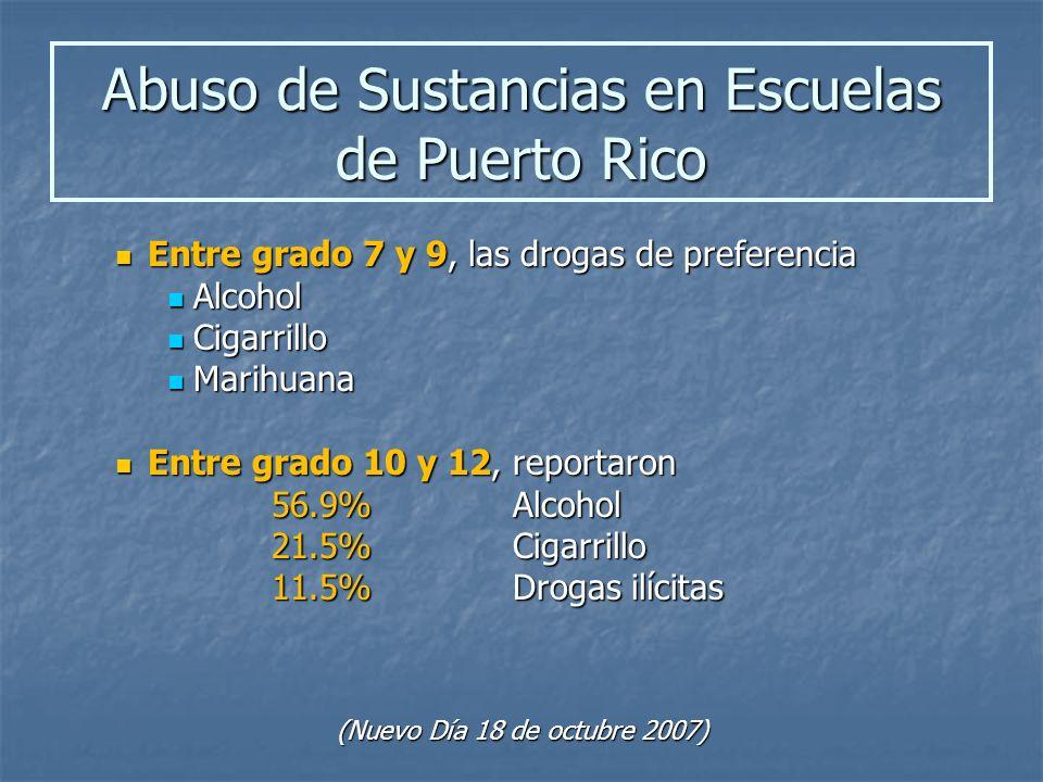 Entre grado 7 y 9, las drogas de preferencia Entre grado 7 y 9, las drogas de preferencia Alcohol Alcohol Cigarrillo Cigarrillo Marihuana Marihuana En
