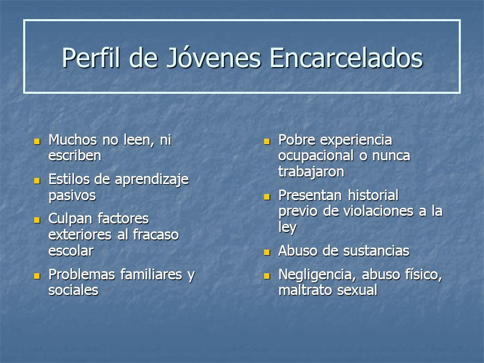 Perfil de Jóvenes Encarcelados Muchos no leen, ni escriben Muchos no leen, ni escriben Estilos de aprendizaje pasivos Estilos de aprendizaje pasivos C