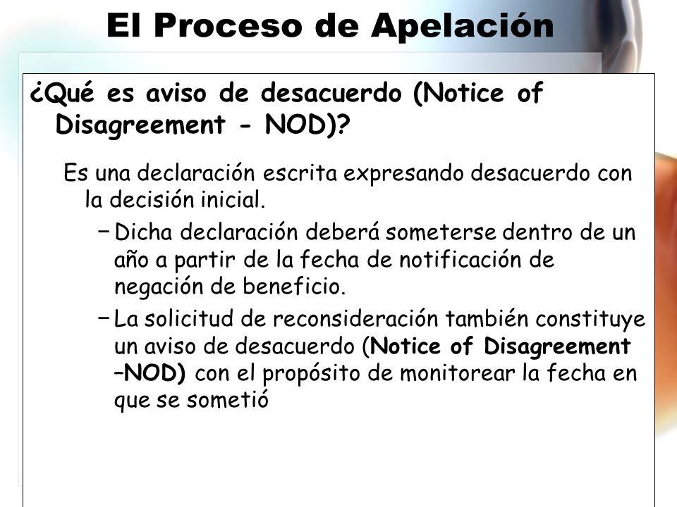 ¿Qué es aviso de desacuerdo (Notice of Disagreement - NOD).