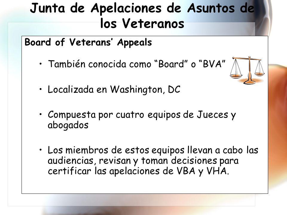 Junta de Apelaciones de Asuntos de los Veteranos Board of Veterans Appeals También conocida como Board o BVA Localizada en Washington, DC Compuesta por cuatro equipos de Jueces y abogados Los miembros de estos equipos llevan a cabo las audiencias, revisan y toman decisiones para certificar las apelaciones de VBA y VHA.