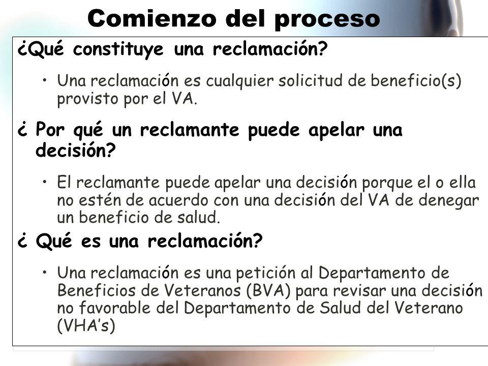 Comienzo del proceso ¿Qué constituye una reclamación.