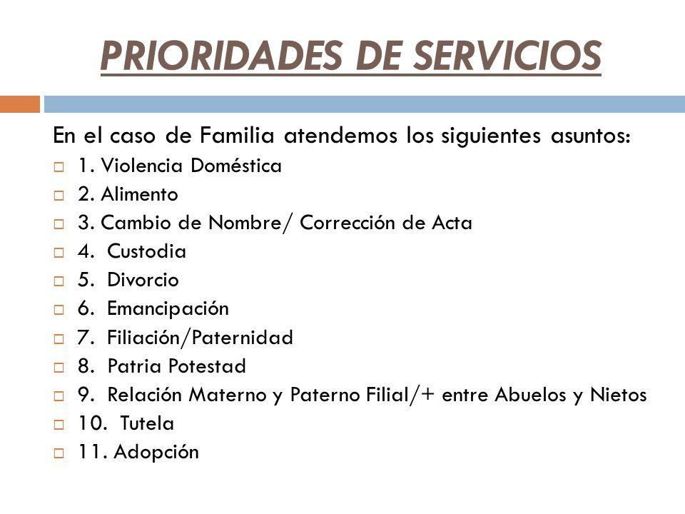 PRIORIDADES DE SERVICIOS En el caso de Familia atendemos los siguientes asuntos: 1. Violencia Doméstica 2. Alimento 3. Cambio de Nombre/ Corrección de