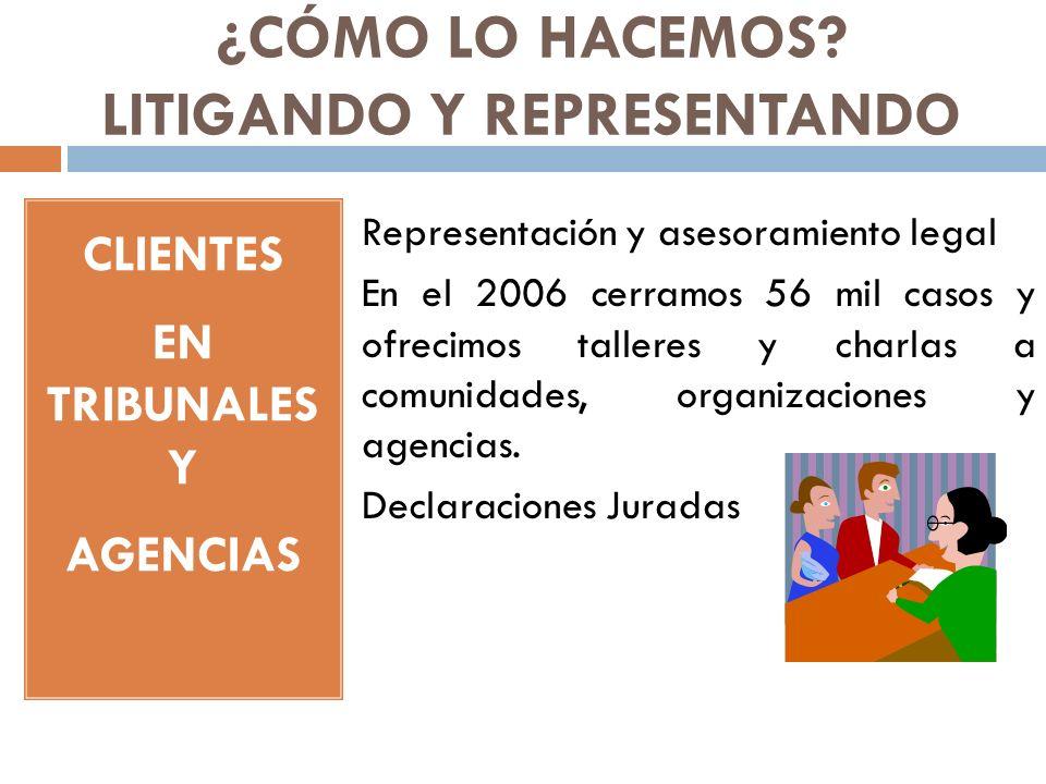 ¿CÓMO LO HACEMOS? LITIGANDO Y REPRESENTANDO CLIENTES EN TRIBUNALES Y AGENCIAS Representación y asesoramiento legal En el 2006 cerramos 56 mil casos y