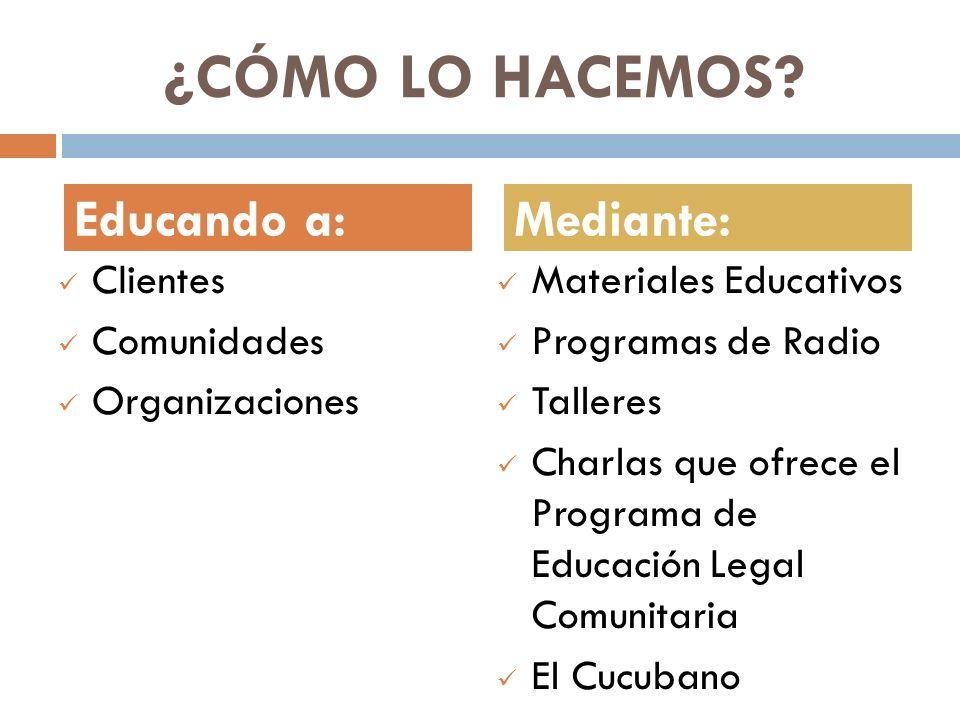 ¿CÓMO LO HACEMOS? Clientes Comunidades Organizaciones Materiales Educativos Programas de Radio Talleres Charlas que ofrece el Programa de Educación Le