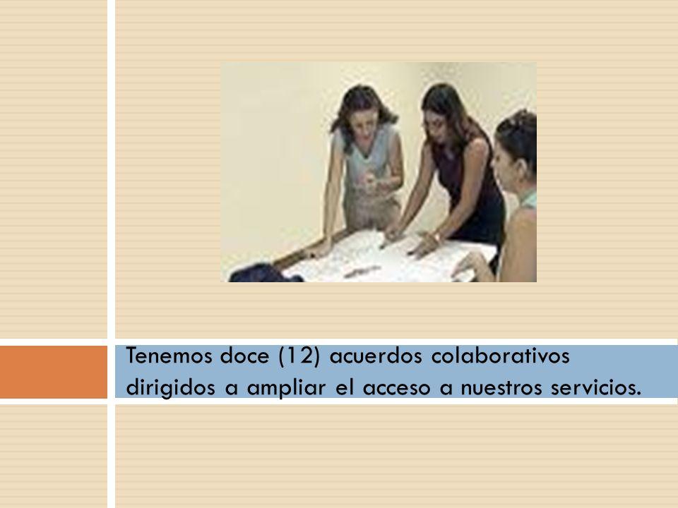Tenemos doce (12) acuerdos colaborativos dirigidos a ampliar el acceso a nuestros servicios.