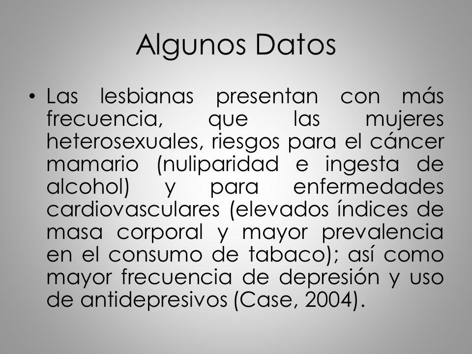 Algunos Datos Las lesbianas presentan con más frecuencia, que las mujeres heterosexuales, riesgos para el cáncer mamario (nuliparidad e ingesta de alc