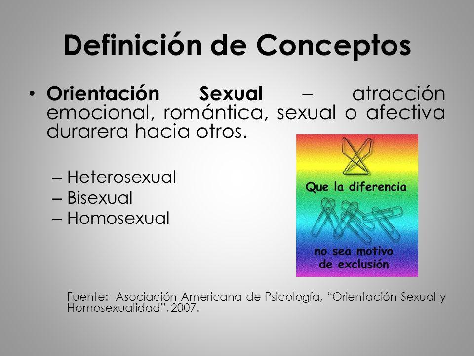 Orientación Sexual – atracción emocional, romántica, sexual o afectiva durarera hacia otros. – Heterosexual – Bisexual – Homosexual Fuente: Asociación