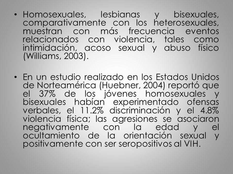 Homosexuales, lesbianas y bisexuales, comparativamente con los heterosexuales, muestran con más frecuencia eventos relacionados con violencia, tales c