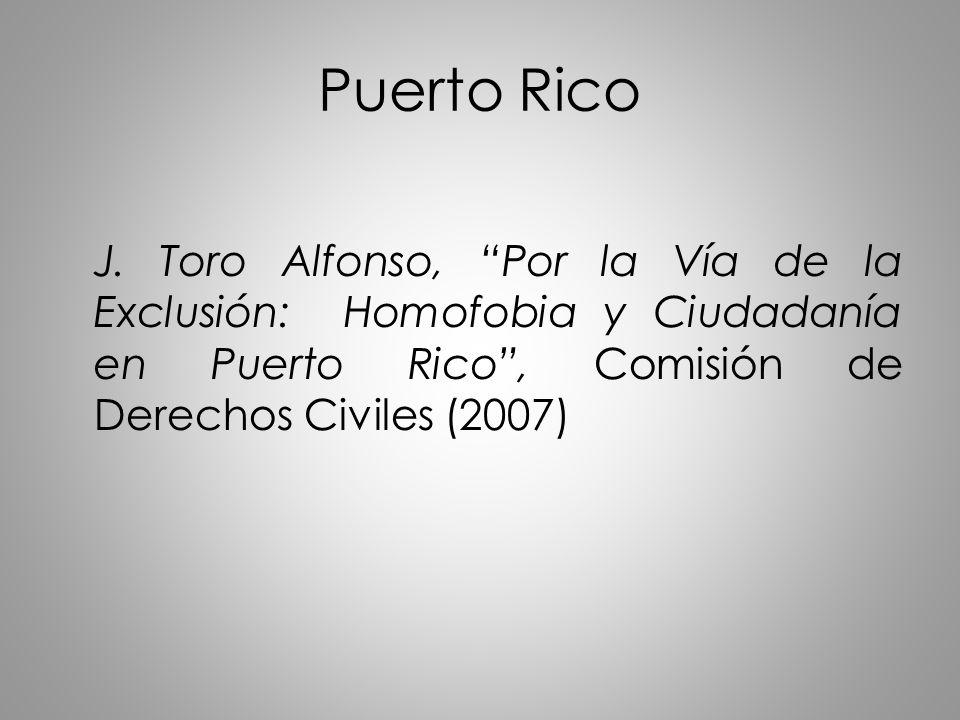Puerto Rico J. Toro Alfonso, Por la Vía de la Exclusión: Homofobia y Ciudadanía en Puerto Rico, Comisión de Derechos Civiles (2007)