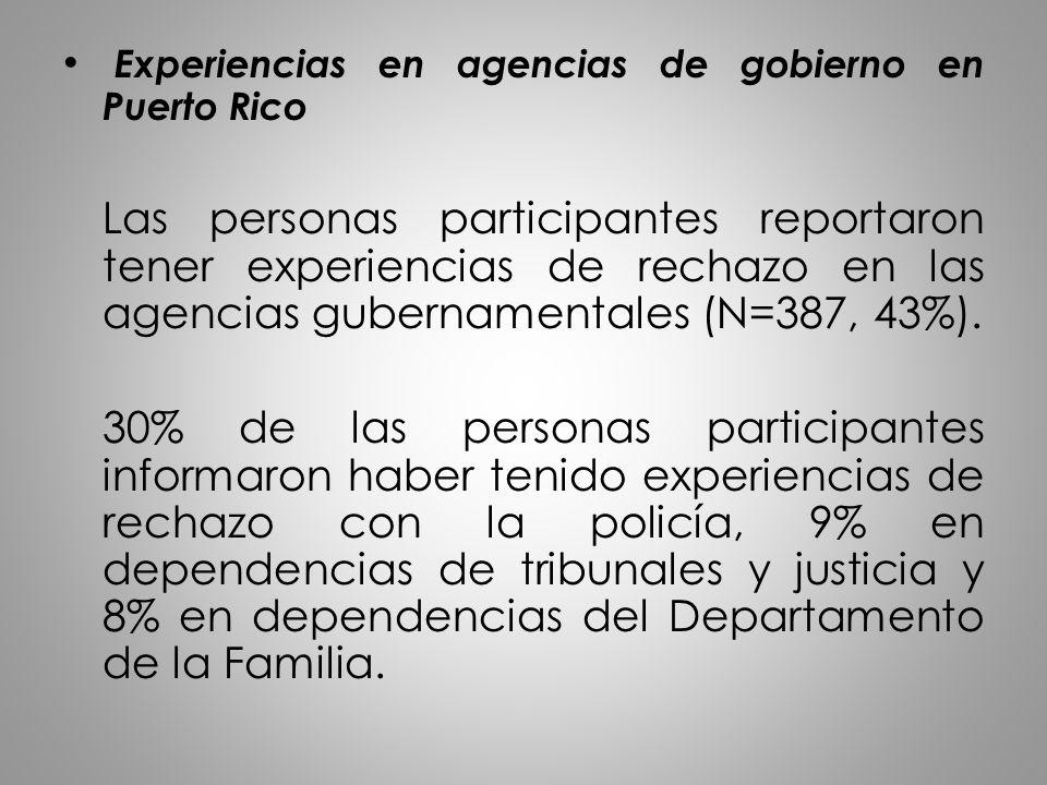 Experiencias en agencias de gobierno en Puerto Rico Las personas participantes reportaron tener experiencias de rechazo en las agencias gubernamentale
