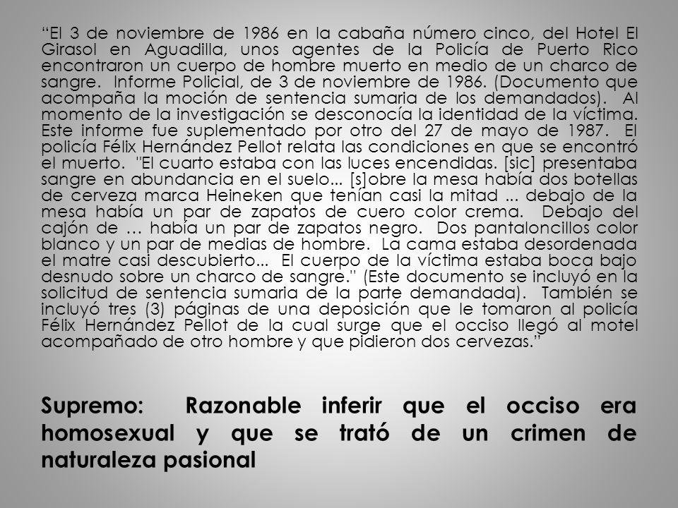 Supremo: Razonable inferir que el occiso era homosexual y que se trató de un crimen de naturaleza pasional El 3 de noviembre de 1986 en la cabaña núme