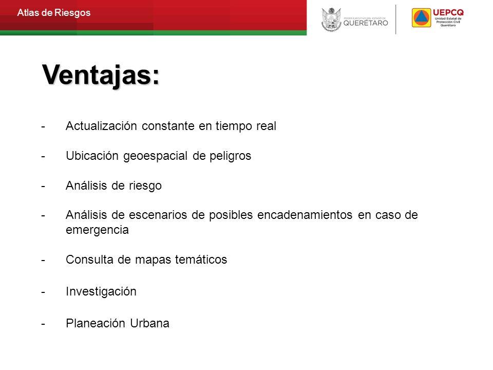 Atlas de Riesgos - Actualización constante en tiempo real - Ubicación geoespacial de peligros -Análisis de riesgo -Análisis de escenarios de posibles