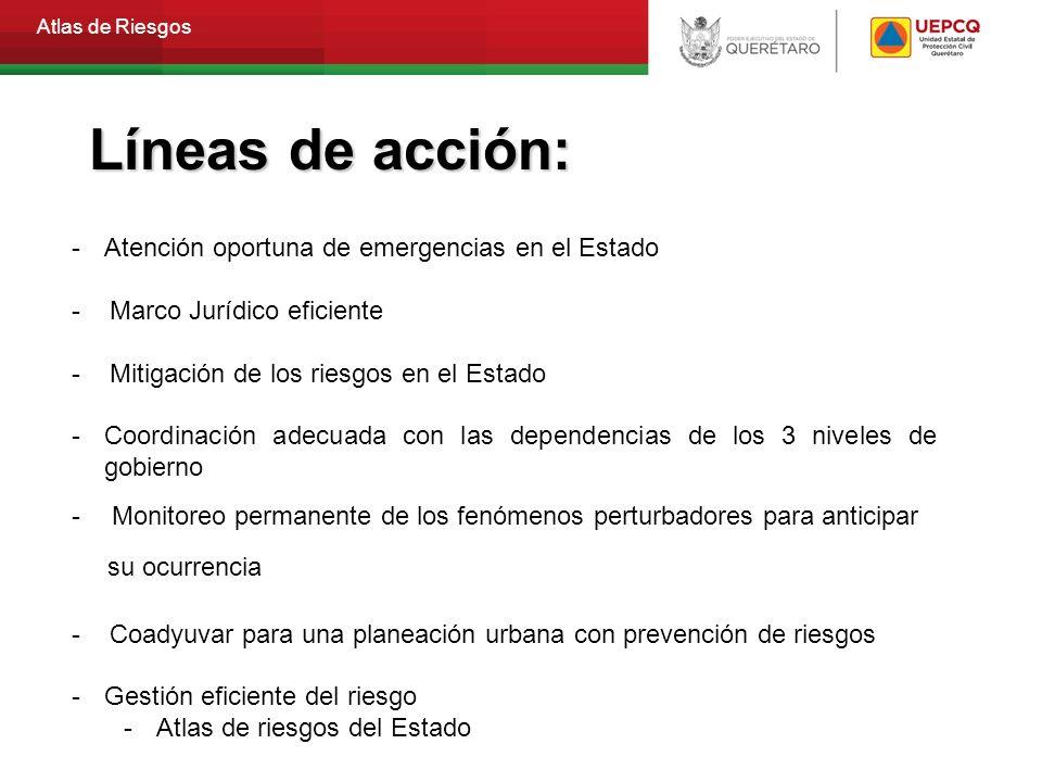 Atlas de Riesgos -Atención oportuna de emergencias en el Estado - Marco Jurídico eficiente - Mitigación de los riesgos en el Estado -Coordinación adec