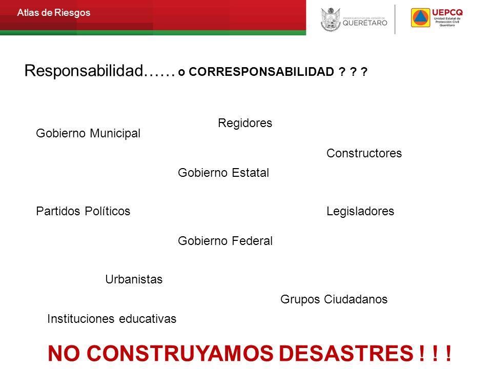 Atlas de Riesgos Responsabilidad…… o CORRESPONSABILIDAD ? ? ? NO CONSTRUYAMOS DESASTRES ! ! ! Gobierno Municipal Gobierno Estatal Partidos Políticos G
