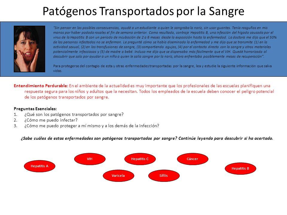 Patógenos Transportados por Sangre Definidos--VHB ¿Qué son los patógenos transportados por sangre.