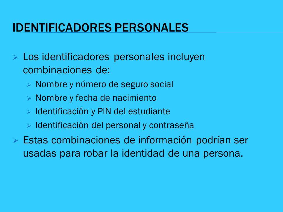 IDENTIFICADORES PERSONALES Los identificadores personales incluyen combinaciones de: Nombre y número de seguro social Nombre y fecha de nacimiento Ide