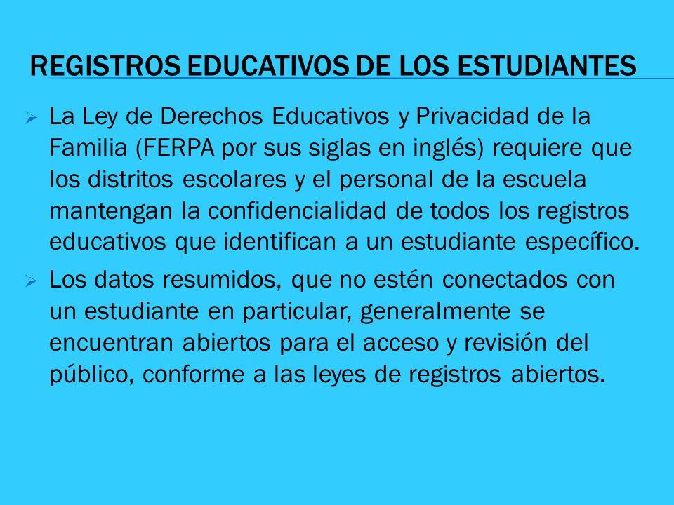 REGISTROS EDUCATIVOS DE LOS ESTUDIANTES La Ley de Derechos Educativos y Privacidad de la Familia (FERPA por sus siglas en inglés) requiere que los dis