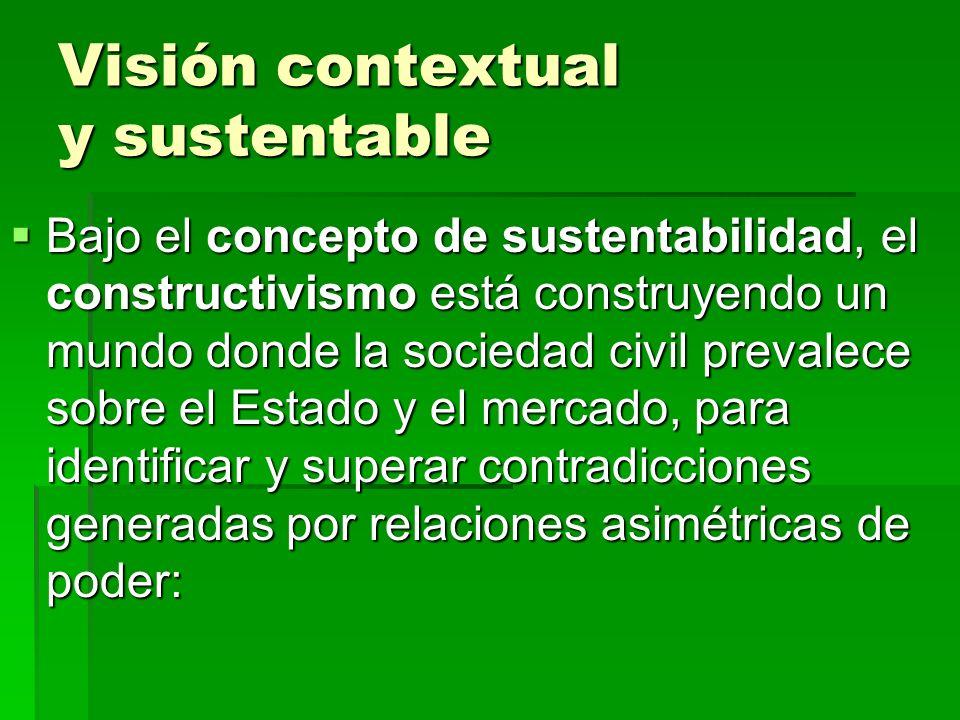 Visión contextual y sustentable Bajo el concepto de sustentabilidad, el constructivismo está construyendo un mundo donde la sociedad civil prevalece s