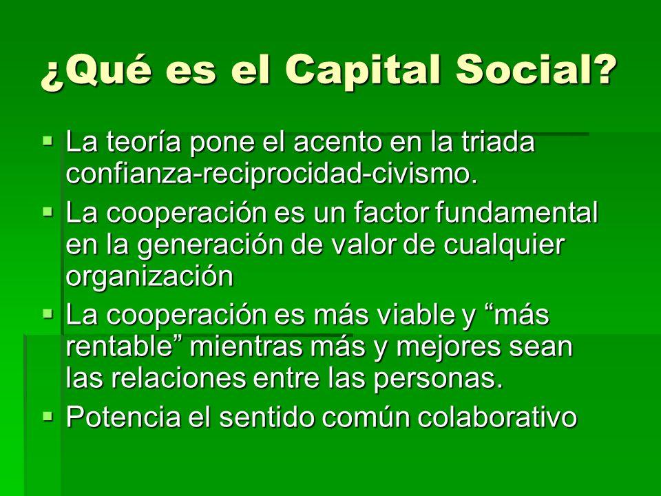 ¿Qué es el Capital Social? La teoría pone el acento en la triada confianza-reciprocidad-civismo. La teoría pone el acento en la triada confianza-recip