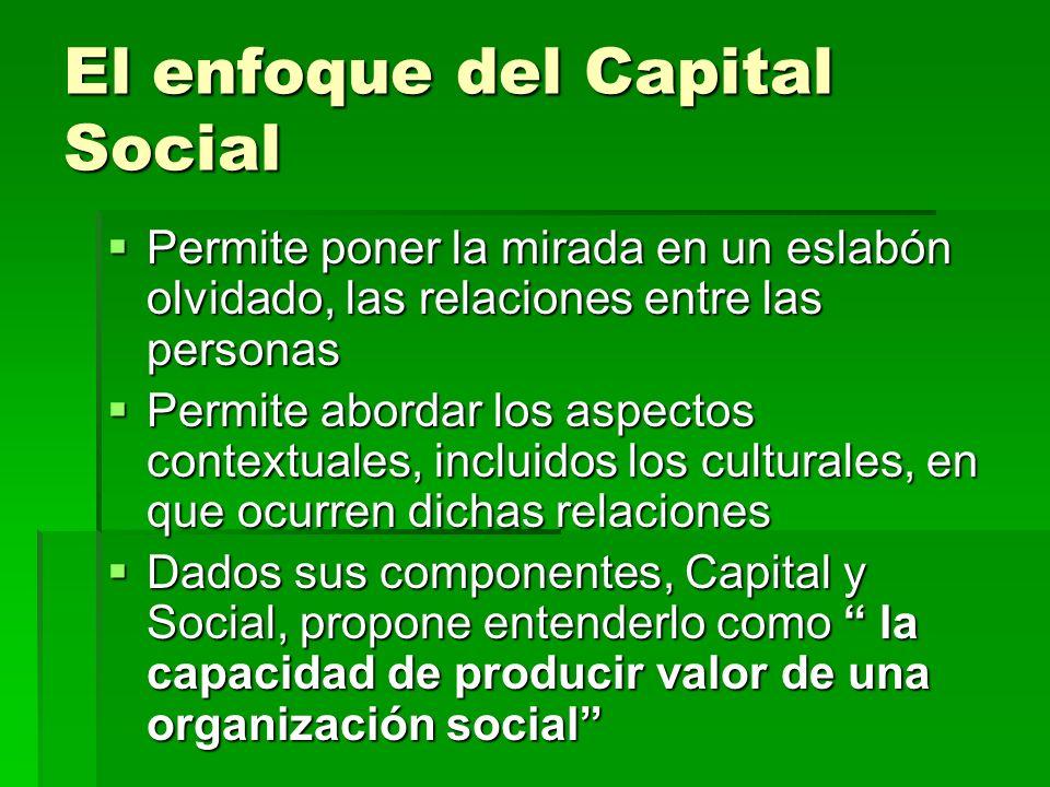 El enfoque del Capital Social Permite poner la mirada en un eslabón olvidado, las relaciones entre las personas Permite poner la mirada en un eslabón