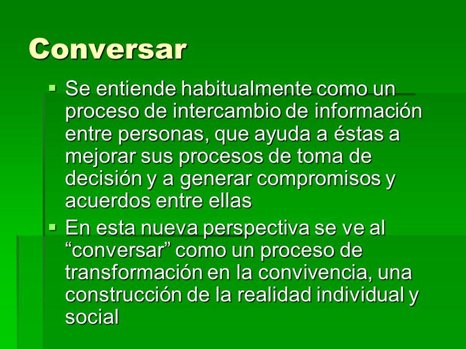 Conversar Se entiende habitualmente como un proceso de intercambio de información entre personas, que ayuda a éstas a mejorar sus procesos de toma de