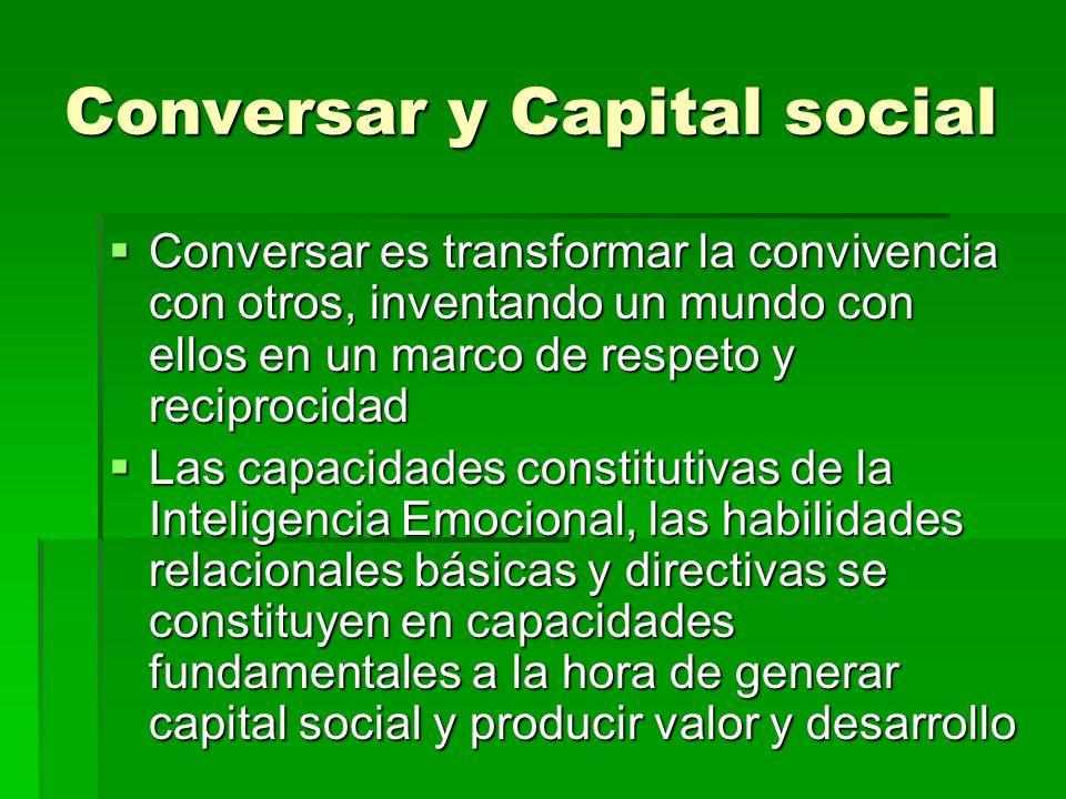 Conversar y Capital social Conversar es transformar la convivencia con otros, inventando un mundo con ellos en un marco de respeto y reciprocidad Conv