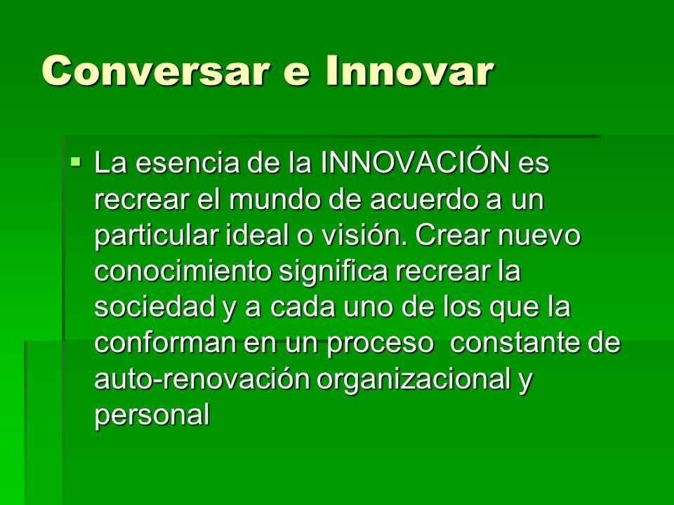 Conversar e Innovar La esencia de la INNOVACIÓN es recrear el mundo de acuerdo a un particular ideal o visión. Crear nuevo conocimiento significa recr