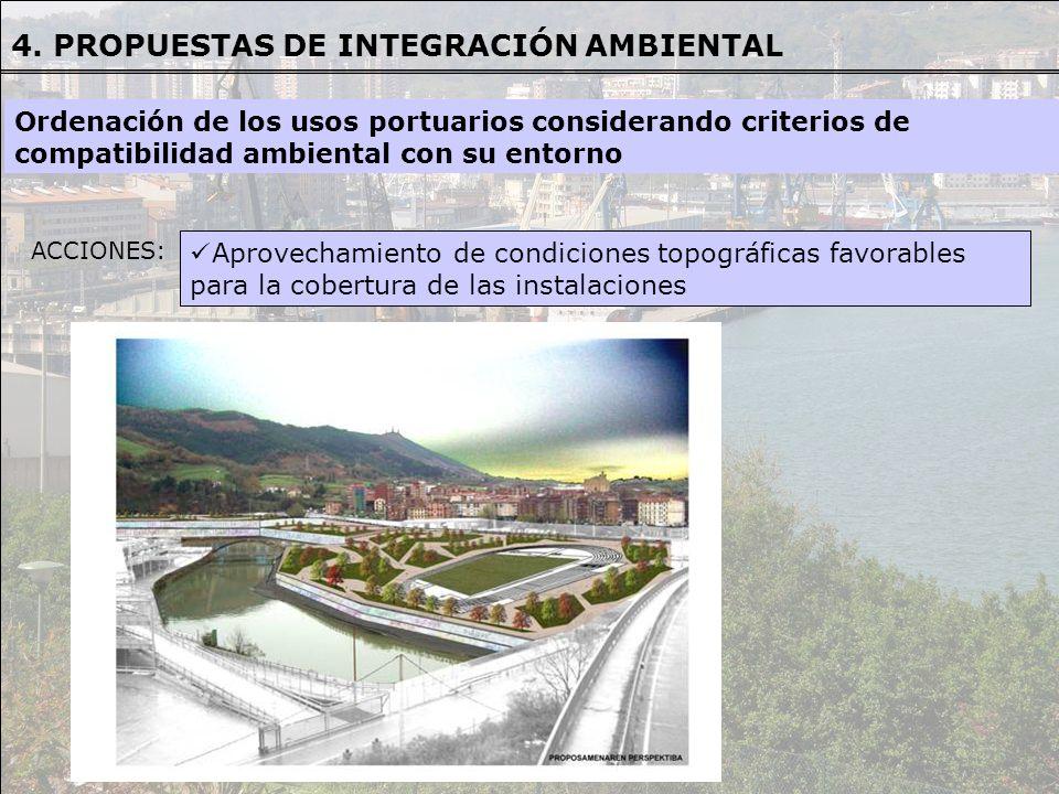 ACCIONES: Aprovechamiento de condiciones topográficas favorables para la cobertura de las instalaciones Ordenación de los usos portuarios considerando