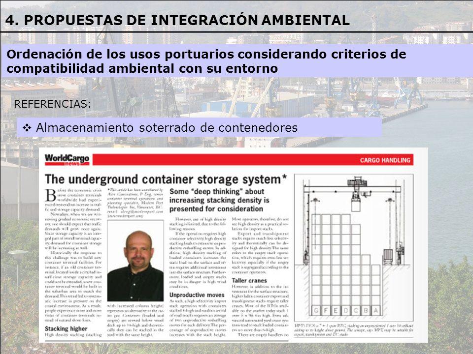 REFERENCIAS REFERENCIAS: Almacenamiento soterrado de contenedores Ordenación de los usos portuarios considerando criterios de compatibilidad ambiental