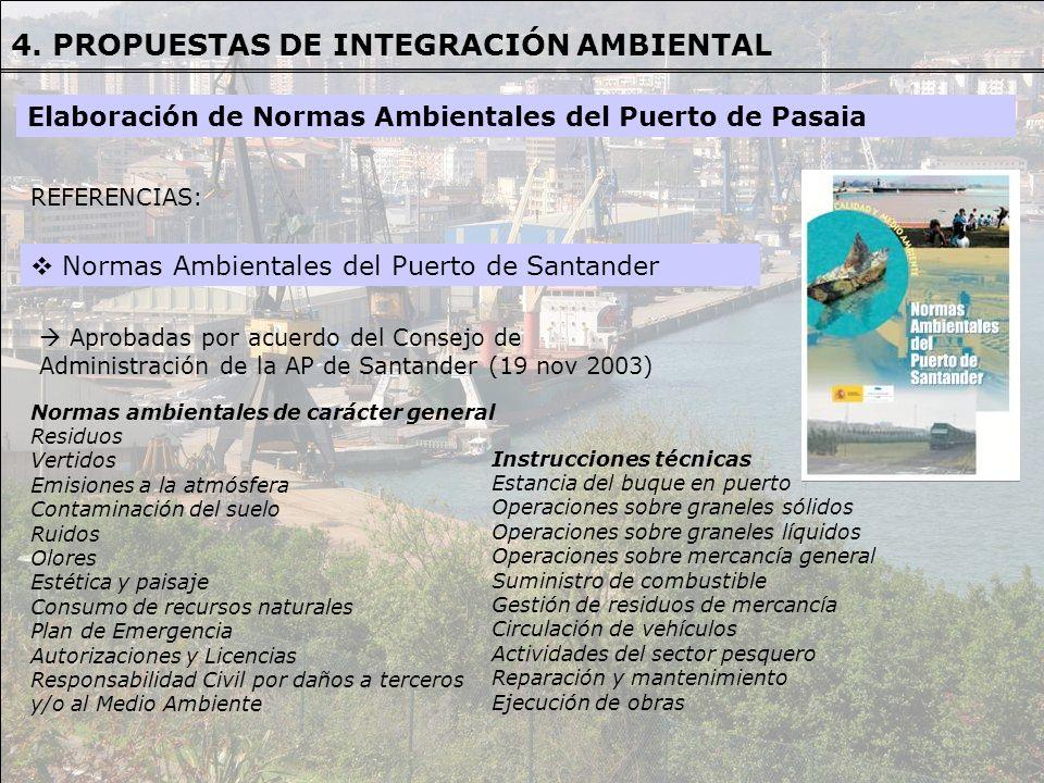 REFERENCIAS REFERENCIAS: Normas Ambientales del Puerto de Santander Aprobadas por acuerdo del Consejo de Administración de la AP de Santander (19 nov