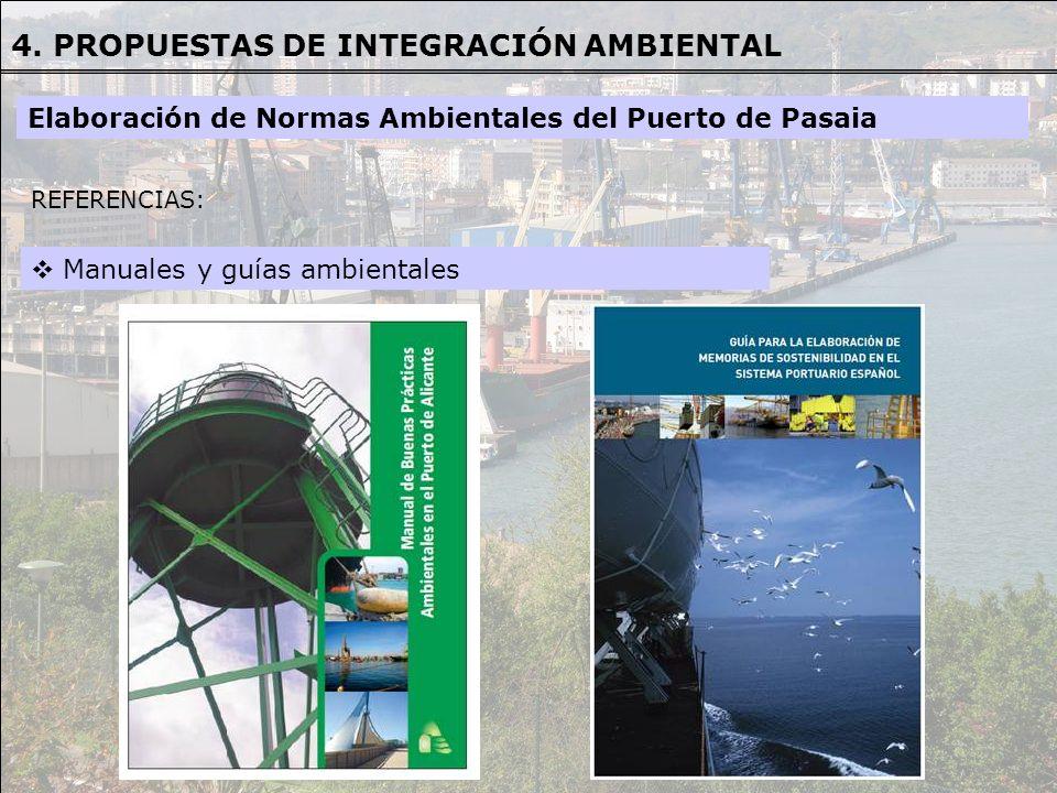 REFERENCIAS REFERENCIAS: Manuales y guías ambientales Elaboración de Normas Ambientales del Puerto de Pasaia 4. PROPUESTAS DE INTEGRACIÓN AMBIENTAL