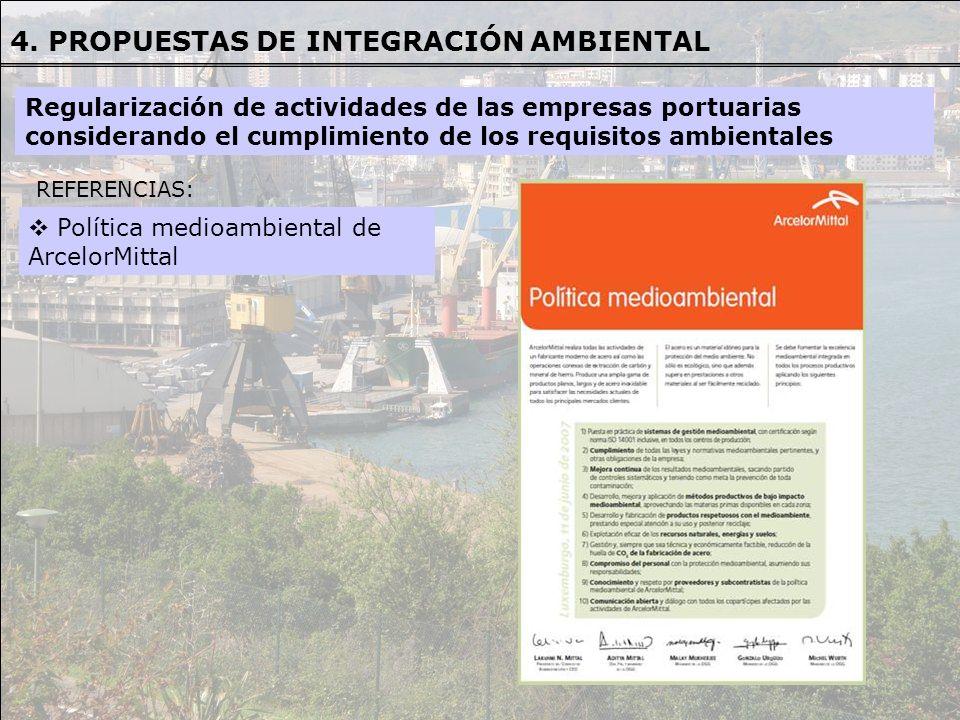 Regularización de actividades de las empresas portuarias considerando el cumplimiento de los requisitos ambientales 4. PROPUESTAS DE INTEGRACIÓN AMBIE