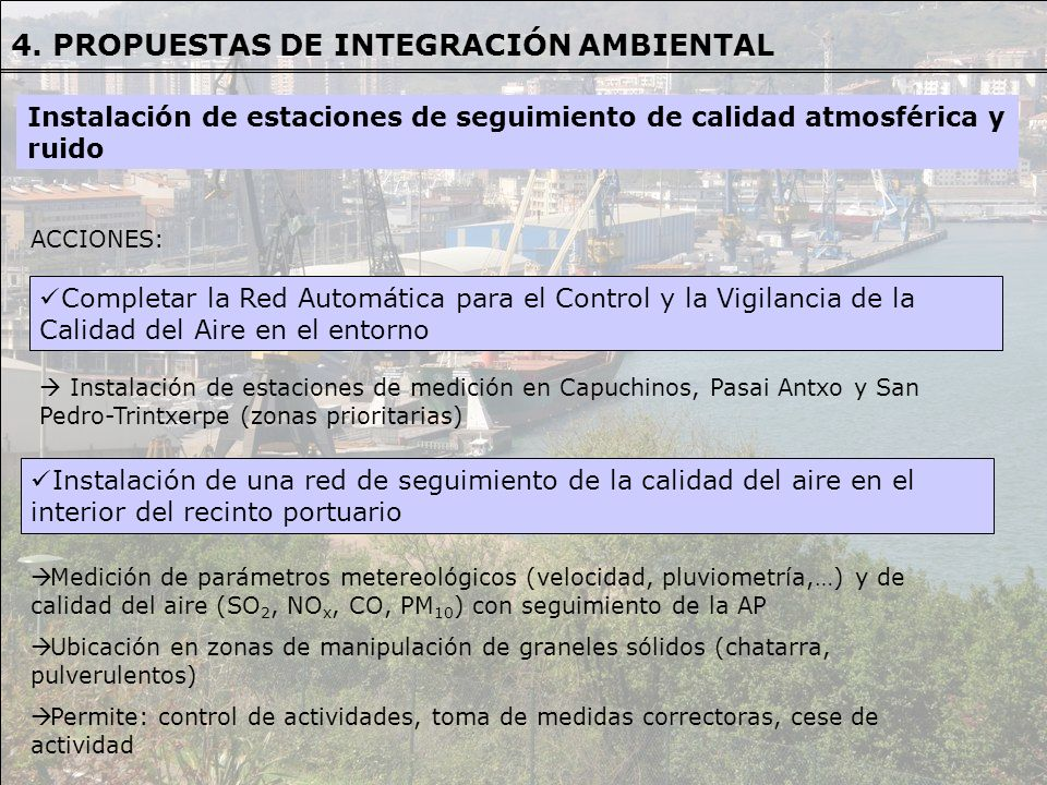 ACCIONES: Completar la Red Automática para el Control y la Vigilancia de la Calidad del Aire en el entorno Instalación de estaciones de medición en Ca