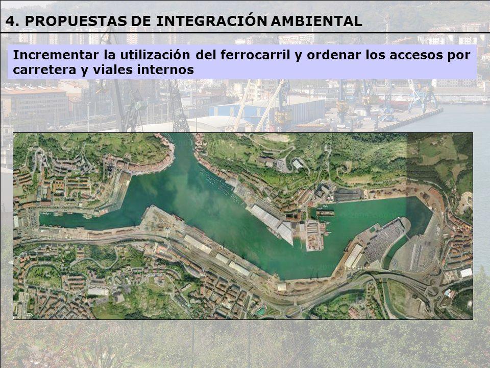 Incrementar la utilización del ferrocarril y ordenar los accesos por carretera y viales internos 4. PROPUESTAS DE INTEGRACIÓN AMBIENTAL