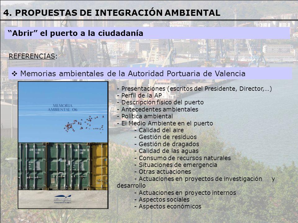 Memorias ambientales de la Autoridad Portuaria de Valencia REFERENCIAS REFERENCIAS: - Presentaciones (escritos del Presidente, Director,…) - Perfil de