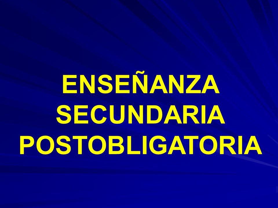 ENSEÑANZA POSTOBLIGATORIA ENSEÑANZA POSTOBLIGATORIA EDUCACIÓN SECUNDARIA OBLIGATORIA (12- 16) Programas De Cualificación Profesional Inicial CICLOS FORMATIVOS DE GRADO MEDIO BACHILLERATO 16-18 AÑOS CICLOS FORMATIVOS DE GRADO SUPERIOR UNIVERSIDAD MUNDO LABORAL