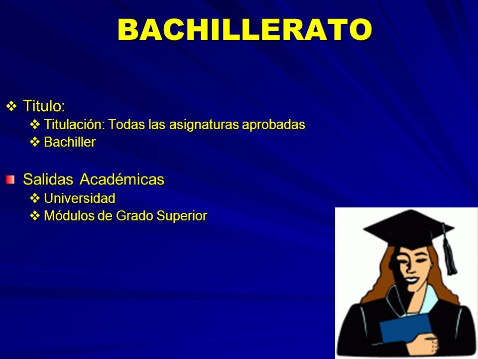 BACHILLERATO BACHILLERATO Titulo: Titulo: Titulación: Todas las asignaturas aprobadas Titulación: Todas las asignaturas aprobadas Bachiller Bachiller